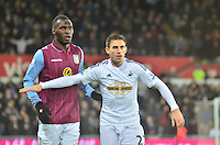 Pictured: Friday 26 December 2014<br /> Re: Premier League, Swansea City FC v Aston Villa at the Liberty Stadium, Swansea, south Wales, UK.<br /> <br /> Swansea's Angel Rangel