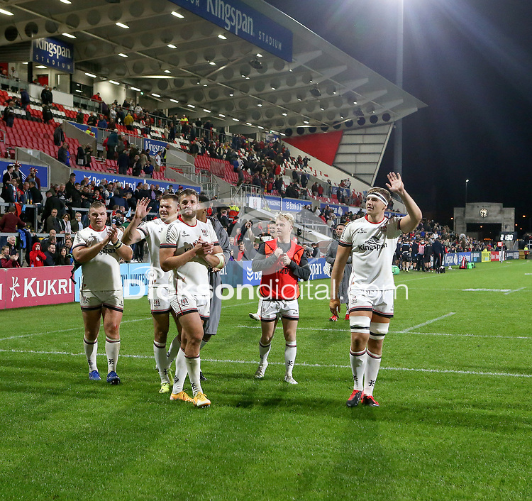 Friday 24th September 2021<br /> <br /> Ulster players applaud their supporters the URC Round 1 clash between Ulster Rugby and Glasgow Warriors at Kingspan Stadium, Ravenhill Park, Belfast, Northern Ireland. Photo by John Dickson/Dicksondigital