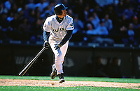 SEATTLE, WA - Ichiro Suzuki of the Seattle Mariners bats against the Toronto Blue Jays during a game at Safeco Field in Seattle, Washington in 2001. Photo by Brad Mangin