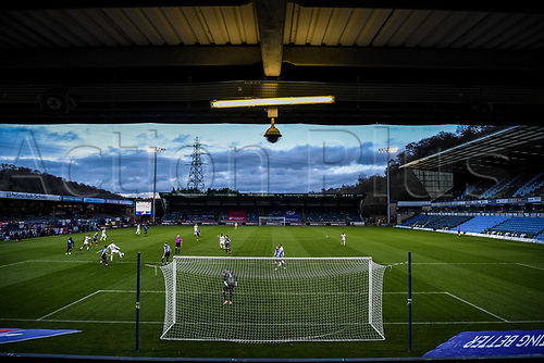 21st November 2020; Adams Park Stadium, Wycombe, Buckinghamshire, England; English Football League Championship Football, Wycombe Wanderers versus Brentford; General view of match action from high in stands