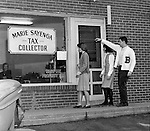 Bethel Park PA:  View of three students walking into Marie Sayenga's Tax Collection Office.