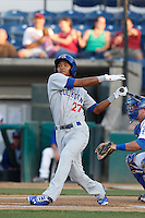 Addison Russell #27 of the Stockton Ports bats against the Rancho Cucamonga Quakes at LoanMart Field on June 13, 2013 in Rancho Cucamonga, California. Stockton defeated Rancho Cucamonga, 8-4. (Larry Goren/Four Seam Images)