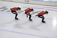 SCHAATSEN: HEERENVEEN, 2020, IJsstadion Thialf, TEAM IKO, MELISSA WIJFJE, ESMEE VISSER, LETITIA DE JONG, ©foto Martin de Jong