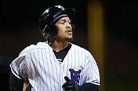 Jose Rodriguez (24) of the Winston-Salem Dash returns to the dugout after hitting a home run against the Bowling Green Hot Rods at Truist Stadium on September 9, 2021 in Winston-Salem, North Carolina. (Brian Westerholt/Four Seam Images)