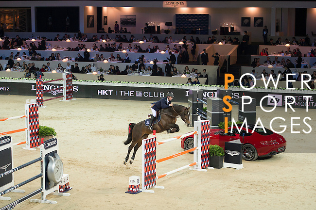 Denis Lynch on Ho Go van de Padenborre competes during the Table A with Jump-off 145 - Airbus Trophy at the Longines Masters of Hong Kong on 20 February 2016 at the Asia World Expo in Hong Kong, China. Photo by Li Man Yuen / Power Sport Images