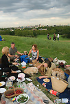 British people love their pet dogs. Alfresco picnic Primrose Hill at a dog lovers summers evening London UK  Middle age group 2008 2000s