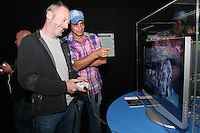 NO REPRO FEE. 20/9/2010. Game On Exhibition.  Liam Cunningham and Baz Ashmay are pictured at the opening of the Game On Exhibition at Dublin's Ambassador Theatre. Game On is an action packed gaming exhibition with fun for all the family. Enjoy a totally interactive experience with rare memorabilia and play your way through over 120 playable games from the arcade classics to the latest releases. Now running at the Ambassador Theatre for a limited run. Tickets from 10 euro including booking fee on sale now See Ticketmaster.ie and Gameon-Dublin.ie for family and group discounts plus more details. Picture James Horan/Collins Photos