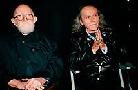 l'Abbe Pierre et l'Abbe Guy Gilbert de France, au Quebec, vers l'ete 2000, date exacte inconnue.<br /> <br /> PHOTO :  Agence Quebec Presse