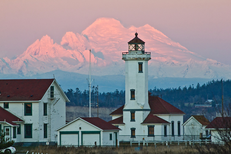 Port Townsend, Mount Baker, Point Wilson lighthouse, winter, sunset, Fort Worden State Park, Cascade Mountains, Puget Sound, Washington State, Pacific Northwest, United States,