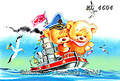 Interlitho-Fabrizio, Comics, CUTE ANIMALS, LUSTIGE TIERE, ANIMALITOS DIVERTIDOS, paintings+++++,bears, boat,KL4604,#ac#, EVERYDAY ,sticker,stickers ,unicorn,unicorns