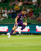18th April 2021; HBF Park, Perth, Western Australia, Australia; A League Football, Perth Glory versus Wellington Phoenix; Carlo Armiento of the Perth Glory shoots from outside the box but the effort went wide