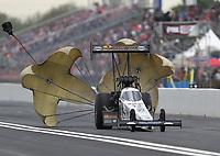 Apr 13, 2019; Baytown, TX, USA; NHRA top fuel driver Austin Prock during qualifying for the Springnationals at Houston Raceway Park. Mandatory Credit: Mark J. Rebilas-USA TODAY Sports
