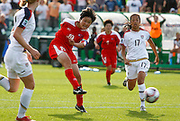 Korean DPR player JANG Hyon Sun shoots the winning goal. USA v Korea Republic. FIFA U-17 Women's World Cup Final. North Harbour Stadium, Auckland, Sunday 16 October 2008. Photo: Simon Watts/PHOTOSPORT