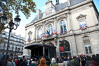 November 13 2017, PARIS FRANCE<br /> the President of France Emmanuel Macron<br /> honors the victims of the 13 november 2015<br /> in the scenes of attacks. Commerations<br /> in the Town hall of Paris 11 th. # HOMMAGE AUX VICTIMES DES ATTENTATS DU 13 NOVEMBRE 2015