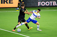 LOS ANGELES, CA - SEPTEMBER 02: Cristian Espinoza #10 of the San Jose Earthquakes reaches for the ball during a game between San Jose Earthquakes and Los Angeles FC at Banc of California stadium on September 02, 2020 in Los Angeles, California.