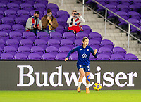 ORLANDO, FL - JANUARY 18: Kelley O'Hara #5 of the USWNT controls the ball before a game between Colombia and USWNT at Exploria Stadium on January 18, 2021 in Orlando, Florida.