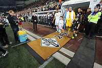 Pictured: Ashley Williams and Tim Howard lead their teams as they come out of the tunnel. Tuesday 23 September 2014<br /> Re: Capital One Cup, Swansea City FC v Everton at the Liberty Stadium, south Wales, UK