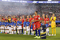 CHARLOTTE, NC - OCTOBER 3: Ali Krieger #11 of the United States is honored for playing 100 games for the national team during a game between Korea Republic and USWNT at Bank of America Stadium on October 3, 2019 in Charlotte, North Carolina.