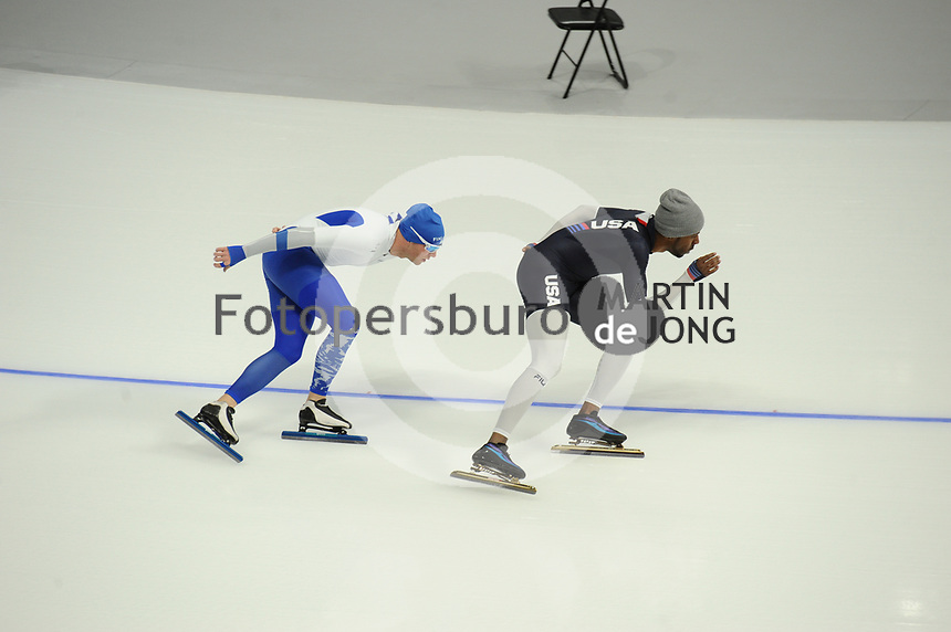 OLYMPIC GAMES: PYEONGCHANG: 09-02-2018, Gangneung Oval, Training session, Mika Poutala (FIN), Shani Davis (USA), ©photo Martin de Jong