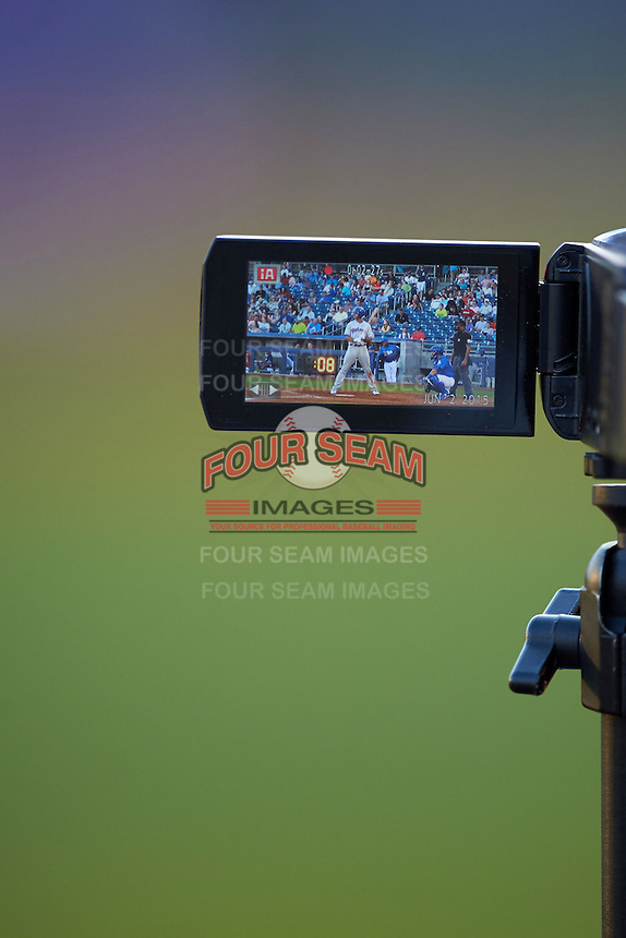 Midland RockHounds first baseman Matt Olson (21) at bat through the teams video camera during a game against the Tulsa Drillers on June 2, 2015 at Oneok Field in Tulsa, Oklahoma.  Midland defeated Tulsa 6-5.  (Mike Janes/Four Seam Images)