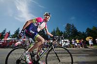 Christopher Horner (USA/Lampre-Merida) up the final climb to Chamrousse (1730m/18.2km/7.3%)<br /> <br /> 2014 Tour de France<br /> stage 13: Saint-Etiènne - Chamrousse (197km)