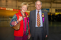 Pictured: Ukip candidate Neil Hamilton and his wife Christine Hamilton during the Newport West by-election ballot count at the Geraint Thomas National Velodrome of Wales in Newport, South Wales, UK. <br /> Thursday 04 April 2019<br /> Re: Voters in Newport West are going to the polls to elect a new member of Parliament.<br /> The seat in south east Wales became vacant following the death of Paul Flynn earlier in February.