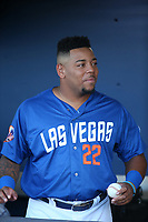 Dominic Smith (22) of the Las Vegas 51s before a game against the Sacramento River Cats at Cashman Field on June 15, 2017 in Las Vegas, Nevada. Las Vegas defeated Sacramento, 12-4. (Larry Goren/Four Seam Images)