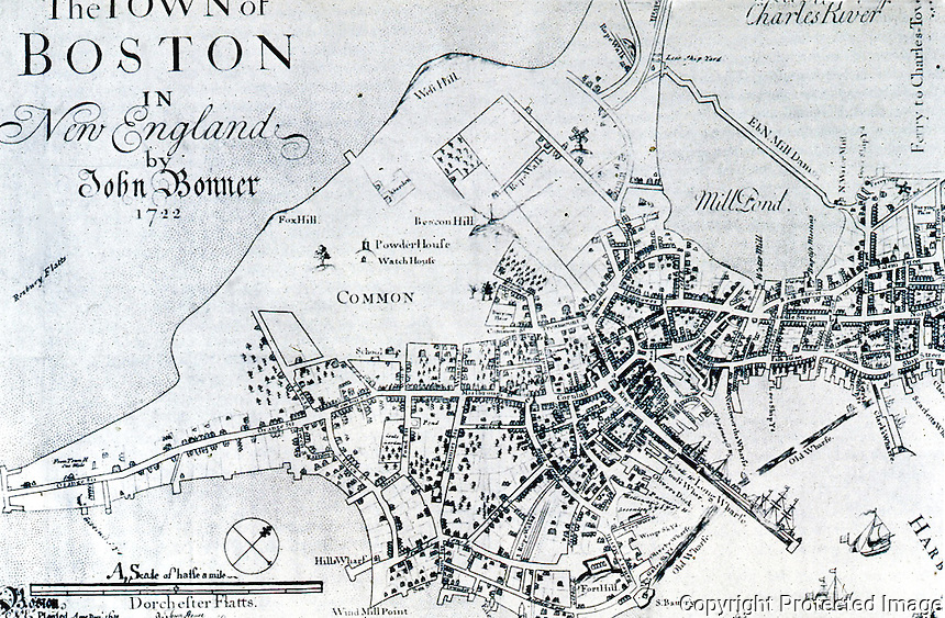 Utopia:  Boston Plan 1722.  John Bonner. REPS: MAKING OF URBAN  AMERICA, fig. 85.