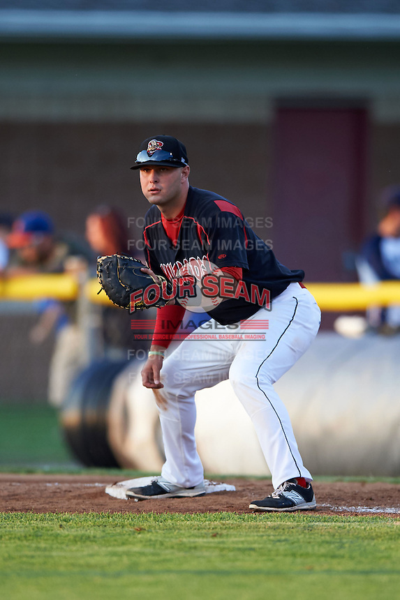 Batavia Muckdogs first baseman Ryan Cranmer (12) during a game against the Auburn Doubledays July 10, 2015 at Dwyer Stadium in Batavia, New York.  Auburn defeated Batavia 13-1.  (Mike Janes/Four Seam Images)