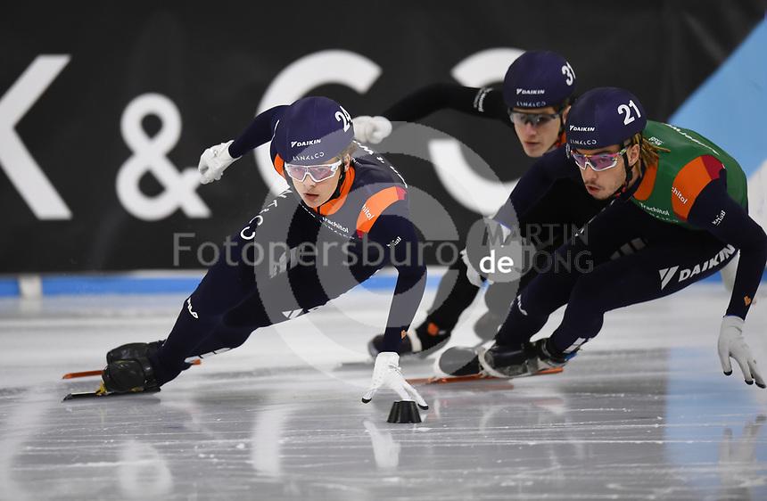 SCHAATSEN: HEERENVEEN: 12-12-2020, IJsstadion Thialf, Shorttrack, NK Shorttrack Afstanden, Melle van 't Wout, Dylan Hoogerwerf, Teun Boer, ©foto Martin de Jong
