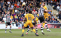 Ryan Bird of Newport County heads the ball towards goal during the Sky Bet League Two match between Newport County and Notts County at Rodney Parade, Newport, Wales, UK. Saturday 06 May 2017