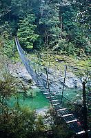 Swingbridge over Pelorus River - Mt. Richmond Forest Park, Nelson Region, New Zealand
