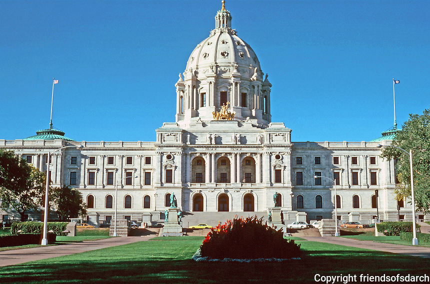 St. Paul:  State Capitol Building.  Cass Gilbert 1893-94. Modeled after St. Peter's Basilica in Rome.  Italian Renaissance & Beaux Arts design.  Landscaped campus. Photo '85.