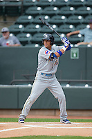 Jacob Hannemann (15) of the Myrtle Beach Pelicans at bat against the Winston-Salem Dash at BB&T Ballpark on April 18, 2015 in Winston-Salem, North Carolina.  The Pelicans defeated the Dash 4-1 in game one of a double-header.  (Brian Westerholt/Four Seam Images)