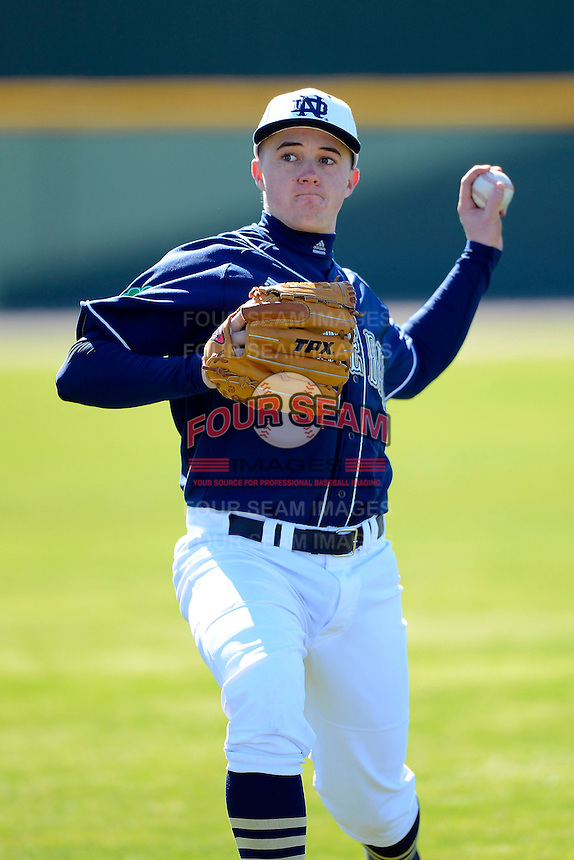 Notre Dame Fighting Irish pitcher Michael Hearne #28 before a game against the Mercer Bears at the Buck O'Neil Complex on February 17, 2013 in Sarasota, Florida.  Mercer defeated Notre Dame 5-4.  (Mike Janes/Four Seam Images)