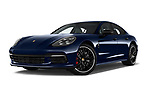 Stock pictures of low aggressive front three quarter view of a 2018 Porsche Panamera Turbo Base 5 Door Hatchback