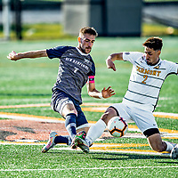 9 April 2021: University of New Hampshire Wildcat Men's Soccer Forward / Midfielder Jacob Gould, a Senior from Exeter, NH, battles University of Vermont Catamount Midfielder Daniel Pacella, a Freshman from Montreal, Quebec, in first-half action at Virtue Field in Burlington, Vermont. The Wildcats defeated the Catamounts 2-1 in America East, Division 1 play. Mandatory Credit: Ed Wolfstein Photo *** RAW (NEF) Image File Available ***