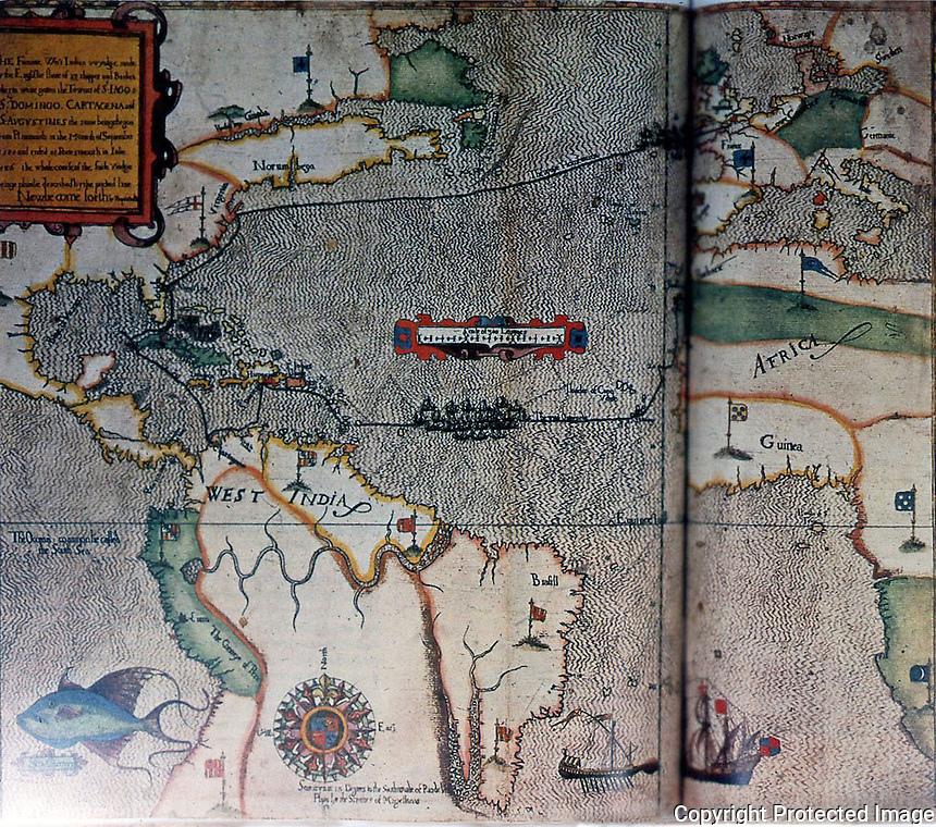 Maps:  Drake's voyage of 1585-1586.  23 ships in maurading expedition.