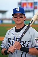 Biloxi Shuckers outfielder Kyle Wren (11) poses for a photo before the second game of a double header against the Pensacola Blue Wahoos on April 26, 2015 at Pensacola Bayfront Stadium in Pensacola, Florida.  Pensacola defeated Biloxi 2-1.  (Mike Janes/Four Seam Images)