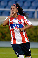 BARRANQUIILLA - COLOMBIA, 03-03-2018: Cinthia Zarabia del Atlético Junior Femenina celebra después de anotar un gol a Unión Magdalena Femenina durante partido por la fecha 4 de la Liga Femenina Águila 2018 jugado en el estadio Metropolitano Roberto Meléndez de la ciudad de Barranquilla. / Cinthia Zarabia player of Atletico Junior Femenina celebrates after scoring a goal to Union Magadalena Women during match for the date 4 of the Aguila Women League 2018 played at Metropolitano Roberto Melendez stadium in Barranquilla city.  Photo: VizzorImage/ Alfonso Cervantes / Cont