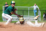 BEACON FALLS, CT 050621JS08—Woodland's Jayden Tomasella  (3) safely steals second base as the throw skips past Holy Cross' Zach Laferriere (5) during their key NVL match up Thursday at Woodland Regional High School.<br /> Jim Shannon Republican American
