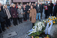 """11. Todestag von Hatun Sueruecue.<br /> Am Sonntag den 7. Februar 2016 wurde in Berlin-Templehof der am 7.2.2005 ermordeten Deutsch-Kurdin Hatun Sueruecue gedacht. Die 21jaehrige Frau wurde von ihrer Familie ermordet, weil sie sich nicht an die """"traditionellen"""" Werte gehalten hat, eine Ausbildung zur Elektroinstallatoerin gemacht hat und mit ihrem unehelichen Kind ein selbstbestimmtes Leben fuehren wollte.<br /> Der Mord wurde in Abstimmung mit der Familie von ihren Bruedern durchgefuehrt, als Taeter wurde der damals minderjaehriger Bruder vorgeschickt. Zwei Brueder fluechteten in die Tuerkei und stehen dort aktuell wegen dem Mord  vor Gericht. Allerdings wurde der Prozess schon am ersten Prozesstag vertagt.<br /> Im Bild: Buergermeisterin und Senatorin fuer Arbeit, Integration und Frauen Dilek Kolat spricht zu den Anwesenden.<br /> 7.2.2016, Berlin<br /> Copyright: Christian-Ditsch.de<br /> [Inhaltsveraendernde Manipulation des Fotos nur nach ausdruecklicher Genehmigung des Fotografen. Vereinbarungen ueber Abtretung von Persoenlichkeitsrechten/Model Release der abgebildeten Person/Personen liegen nicht vor. NO MODEL RELEASE! Nur fuer Redaktionelle Zwecke. Don't publish without copyright Christian-Ditsch.de, Veroeffentlichung nur mit Fotografennennung, sowie gegen Honorar, MwSt. und Beleg. Konto: I N G - D i B a, IBAN DE58500105175400192269, BIC INGDDEFFXXX, Kontakt: post@christian-ditsch.de<br /> Bei der Bearbeitung der Dateiinformationen darf die Urheberkennzeichnung in den EXIF- und  IPTC-Daten nicht entfernt werden, diese sind in digitalen Medien nach §95c UrhG rechtlich geschuetzt. Der Urhebervermerk wird gemaess §13 UrhG verlangt.]"""
