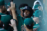 Liover Peguero (10) of the Greensboro Grasshoppers high fives teammates after hitting a home run during the game against the Winston-Salem Dash at Truist Stadium on June 17, 2021 in Winston-Salem, North Carolina. (Brian Westerholt/Four Seam Images)