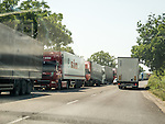 Trucks park and await crossing from Bulgaria into Turkey, Kapitan Andrevo, Bulgaria