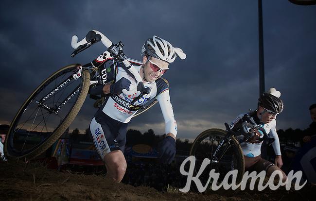 Niels Albert (BEL) having a hard race<br /> <br /> UCI Worldcup Heusden-Zolder Limburg 2013