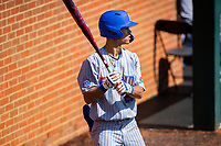 Florida Gators shortstop Jordan Carrion (29) on deck against the Tennessee Volunteers on Robert M. Lindsay Field at Lindsey Nelson Stadium on April 11, 2021, in Knoxville, Tennessee. (Danny Parker/Four Seam Images)