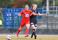 Clotilde Codden (23) of Woluwe pictured in a duel with Geena Lisa Buyle (13) of Zulte-Waregem during a female soccer game between FC Femina White Star Woluwe and SV Zulte Waregem on the fifth matchday of play off 2 in the 2020 - 2021 season of Belgian Scooore Womens Super League , Saturday 8 th of May 2021  in Woluwe , Belgium . PHOTO SPORTPIX.BE   SPP   DAVID CATRY