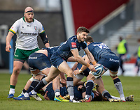 21st March 2021; AJ Bell Stadium, Salford, Lancashire, England; English Premiership Rugby, Sale Sharks versus London Irish; Will Cliff of Sale Sharks clears the ball