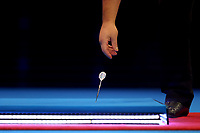 9th October 2021; Morningside Arena, Leicester, England; PDC BoyleSports Darts World Grand Prix finals ; Gerwen Price picks up a dropped dart