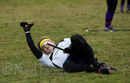 08 MAR 2015 - NOTTINGHAM, GBR - Leicester Thestrals' seeker Joseph Wilson holds up the snitch after successfully taking it from the back of snitch runner Nicole Stone's shorts during the match against Durhamstrang at the 2015 British Quidditch Cup in Woollaton Hall and Deer Park in Nottingham, Great Britain (PHOTO COPYRIGHT © 2015 NIGEL FARROW, ALL RIGHTS RESERVED)